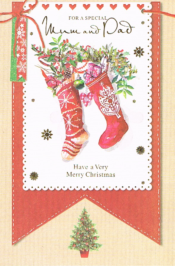 Cards Direct UK :: Christmas Cards :: Mum & Dad Christmas Lge - Stocking