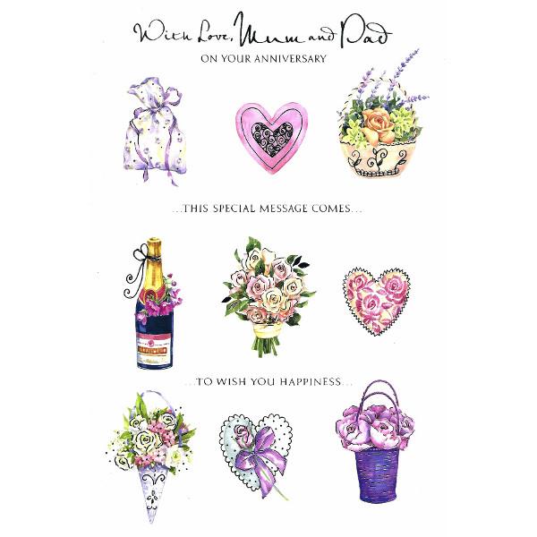 Mum Dad Anniversary Lge Heart Roses