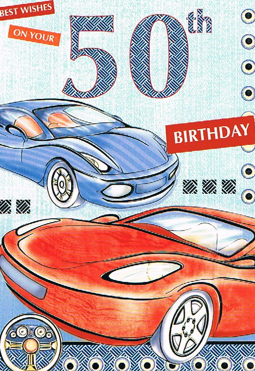 50th Birthday - Male Red & Blue Cars
