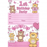 1st Birthday Party Invitations - F Pink Bears
