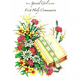 Special Girl First Communion - Flowers/Bible