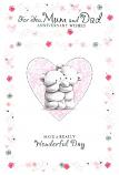 Mum & Dad Anniversary - 2 Bears Heart