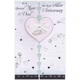 Mum & Dad Silver Anniversary - Glitter Heart