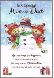 Mum & Dad Christmas - 2 Bears/Snowman