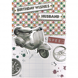 Husband Birthday - Lge 3D Moped