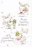 Female Birthday Cute - 3 White Rabbits