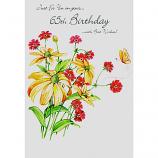 65th Birthday - F Spray Yellow/Pink Flowers