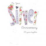 Silver Anniversary - Lge Glitter Silver