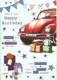 Male Birthday Red Car /Stars