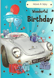 Male Birthday White Car/Stars