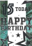 Boy Age 15 Silver Happy Birthday