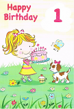 Girl Age 1 - Birthday Cake