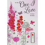 One I Love Birthday - Lge Pink Flowers
