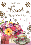 Special Friend Birthday Flowers cup of tea