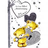 Silver Anniversary - Lge Glitter Bears